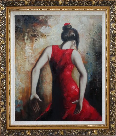 Framed Flamenco Beauty Oil Painting Portraits Woman Dancer Impressionism Ornate Antique Dark Gold Wood Frame 30 x 26 Inches