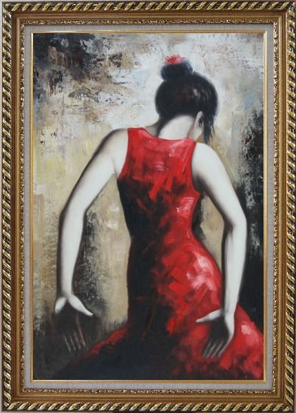 Framed Flamenco Beauty Oil Painting Portraits Woman Dancer Impressionism Exquisite Gold Wood Frame 42 x 30 Inches