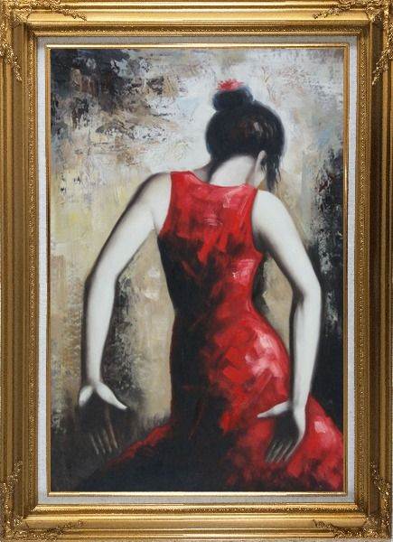 Framed Flamenco Beauty Oil Painting Portraits Woman Dancer Impressionism Gold Wood Frame with Deco Corners 43 x 31 Inches