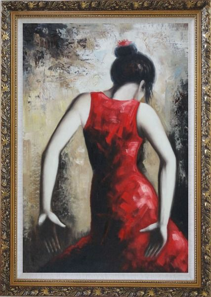 Framed Flamenco Beauty Oil Painting Portraits Woman Dancer Impressionism Ornate Antique Dark Gold Wood Frame 42 x 30 Inches