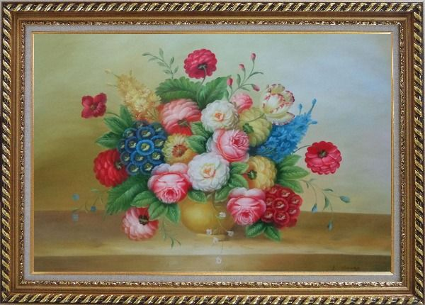 Framed Classic Flowers Still Life Painting Oil Bouquet Exquisite Gold Wood Frame 30 x 42 Inches