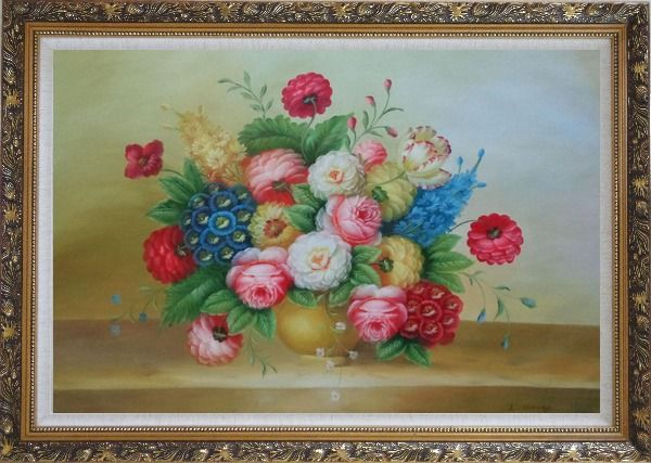 Framed Classic Flowers Still Life Painting Oil Bouquet Ornate Antique Dark Gold Wood Frame 30 x 42 Inches