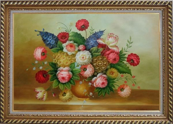 Framed Still Life of Colorful Flowers Oil Painting Bouquet Classic Exquisite Gold Wood Frame 30 x 42 Inches