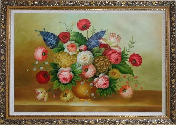 Framed Still Life of Colorful Flowers Oil Painting Bouquet Classic Ornate Antique Dark Gold Wood Frame 30 x 42 Inches
