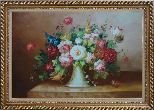 Framed Coloful Flowers on Table Oil Painting Still Life Bouquet Classic Exquisite Gold Wood Frame 30 x 42 Inches