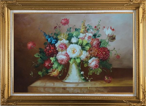 Framed Coloful Flowers on Table Oil Painting Still Life Bouquet Classic Gold Wood Frame with Deco Corners 31 x 43 Inches