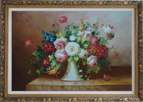 Framed Coloful Flowers on Table Oil Painting Still Life Bouquet Classic Ornate Antique Dark Gold Wood Frame 30 x 42 Inches