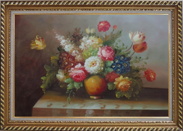 Framed Colorful Flower Bouquet Oil Painting Still Life Classic Exquisite Gold Wood Frame 30 x 42 Inches