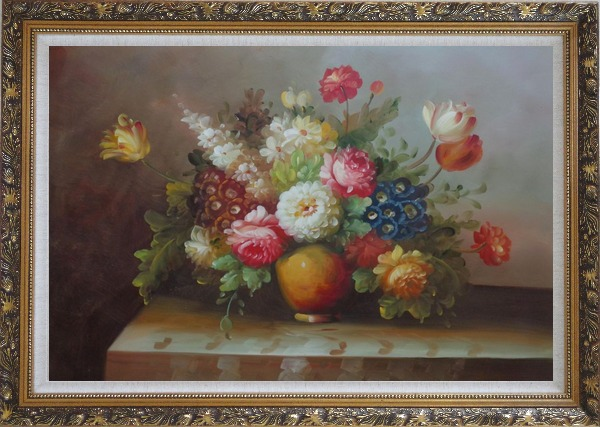 Framed Colorful Flower Bouquet Oil Painting Still Life Classic Ornate Antique Dark Gold Wood Frame 30 x 42 Inches
