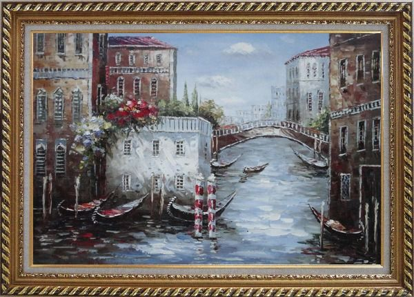 Framed Gondolas Park At Flower Filled Venice Water Street Oil Painting Italy Impressionism Exquisite Gold Wood Frame 30 x 42 Inches