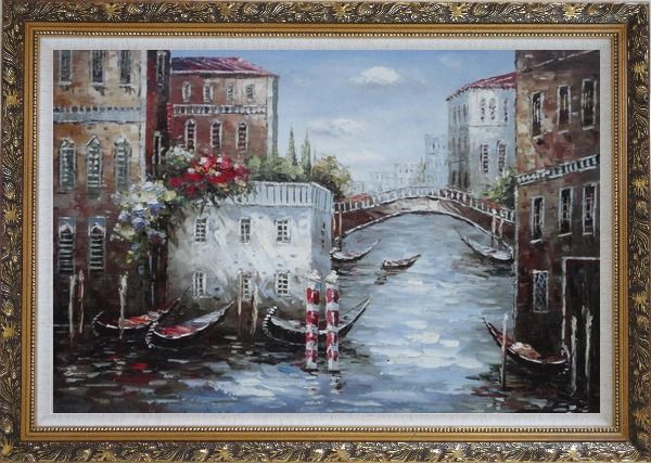 Framed Gondolas Park At Flower Filled Venice Water Street Oil Painting Italy Impressionism Ornate Antique Dark Gold Wood Frame 30 x 42 Inches