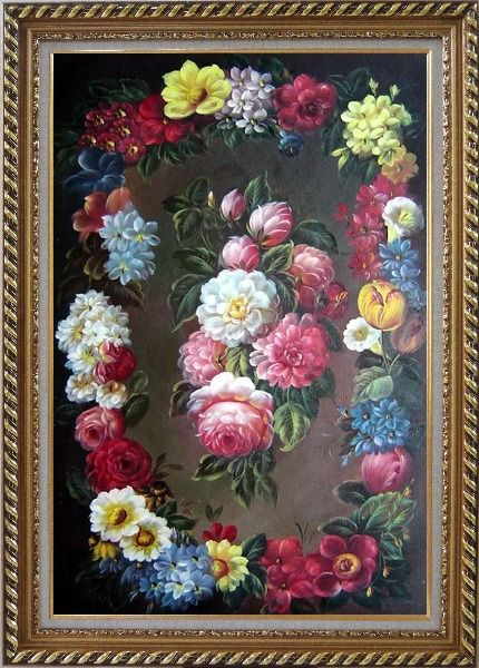 Framed Still Life of Flowers Wreath Oil Painting Bouquet Classic Exquisite Gold Wood Frame 42 x 30 Inches