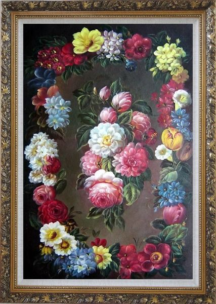 Framed Still Life of Flowers Wreath Oil Painting Bouquet Classic Ornate Antique Dark Gold Wood Frame 42 x 30 Inches