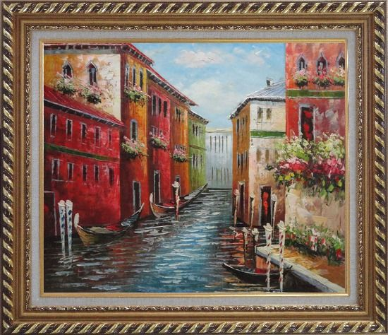Framed Italian Love Story at Venice Oil Painting Italy Impressionism Exquisite Gold Wood Frame 26 x 30 Inches