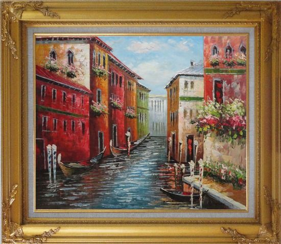 Framed Italian Love Story at Venice Oil Painting Italy Impressionism Gold Wood Frame with Deco Corners 27 x 31 Inches