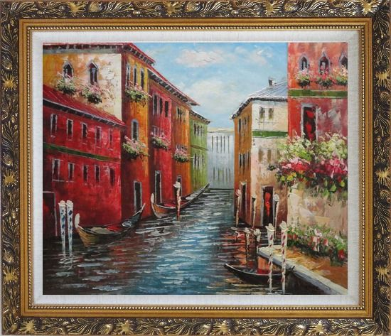 Framed Italian Love Story at Venice Oil Painting Italy Impressionism Ornate Antique Dark Gold Wood Frame 26 x 30 Inches