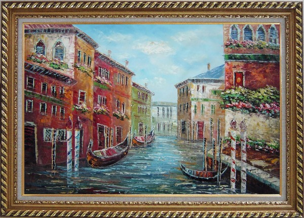 Framed Italian Love Story at Venice Oil Painting Italy Impressionism Exquisite Gold Wood Frame 30 x 42 Inches