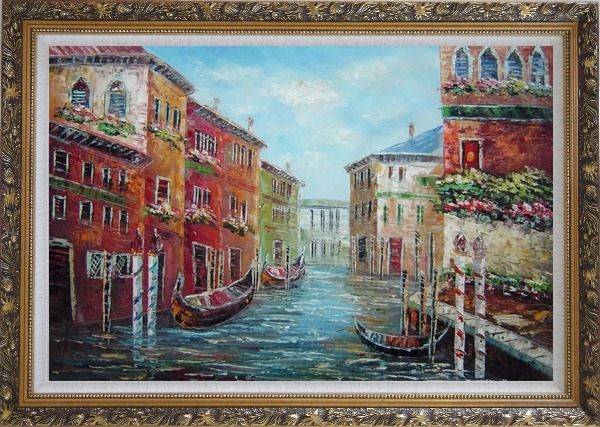 Framed Italian Love Story at Venice Oil Painting Italy Impressionism Ornate Antique Dark Gold Wood Frame 30 x 42 Inches