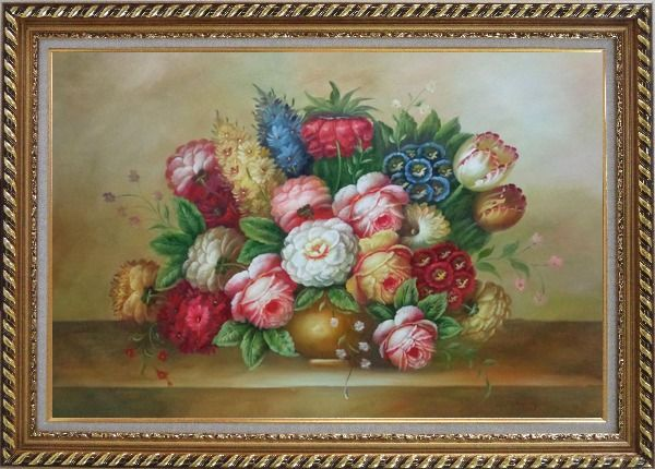 Framed Vase of Colorful Flowers Oil Painting Still Life Bouquet Classic Exquisite Gold Wood Frame 30 x 42 Inches