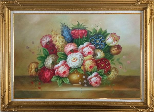 Framed Vase of Colorful Flowers Oil Painting Still Life Bouquet Classic Gold Wood Frame with Deco Corners 31 x 43 Inches