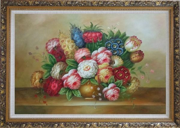 Framed Vase of Colorful Flowers Oil Painting Still Life Bouquet Classic Ornate Antique Dark Gold Wood Frame 30 x 42 Inches