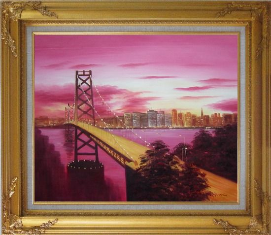 Framed Bay Bridge To San Francisco From Treasure Island Oil Painting Cityscape America Modern Gold Wood Frame with Deco Corners 27 x 31 Inches