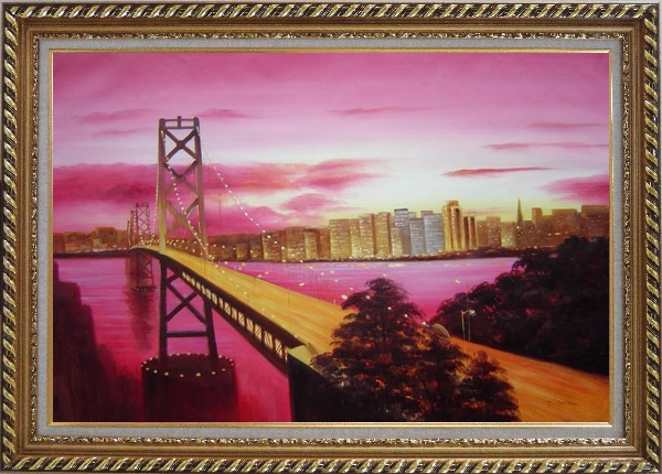 Framed Bay Bridge To San Francisco From Treasure Island Oil Painting Cityscape America Modern Exquisite Gold Wood Frame 30 x 42 Inches