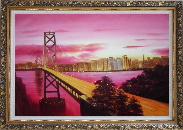Framed Bay Bridge To San Francisco From Treasure Island Oil Painting Cityscape America Modern Ornate Antique Dark Gold Wood Frame 30 x 42 Inches