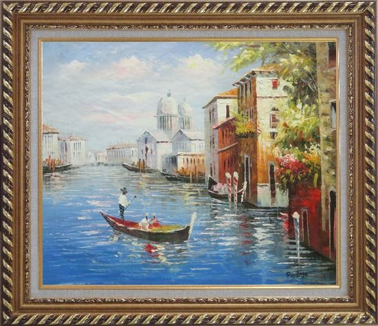 Framed Enjoying Venice on Gondola Oil Painting Italy Naturalism Exquisite Gold Wood Frame 26 x 30 Inches