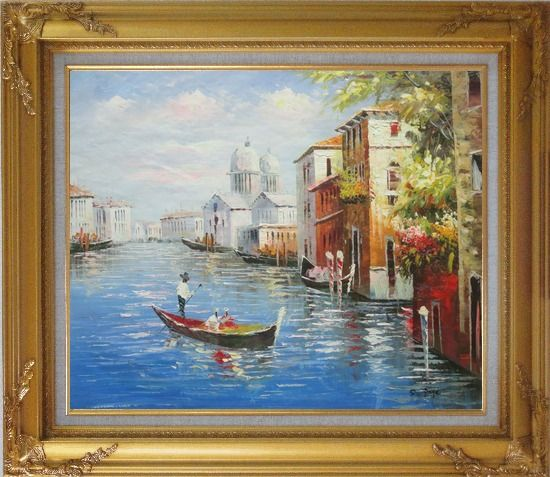 Framed Enjoying Venice on Gondola Oil Painting Italy Naturalism Gold Wood Frame with Deco Corners 27 x 31 Inches