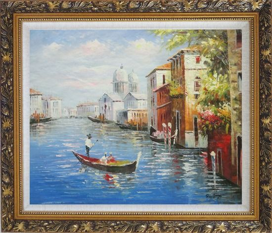 Framed Enjoying Venice on Gondola Oil Painting Italy Naturalism Ornate Antique Dark Gold Wood Frame 26 x 30 Inches