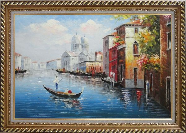 Framed Enjoying Venice on Gondola Oil Painting Italy Naturalism Exquisite Gold Wood Frame 30 x 42 Inches