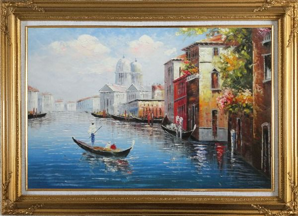 Framed Enjoying Venice on Gondola Oil Painting Italy Naturalism Gold Wood Frame with Deco Corners 31 x 43 Inches