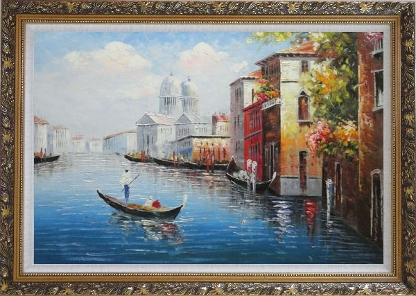 Framed Enjoying Venice on Gondola Oil Painting Italy Naturalism Ornate Antique Dark Gold Wood Frame 30 x 42 Inches