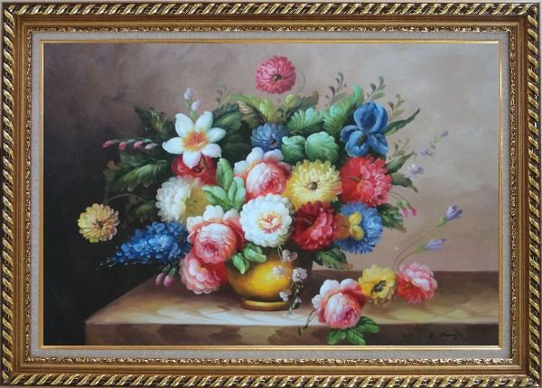 Framed Still Life Of Roses And Other Flowers Oil Painting Bouquet Classic Exquisite Gold Wood Frame 30 x 42 Inches