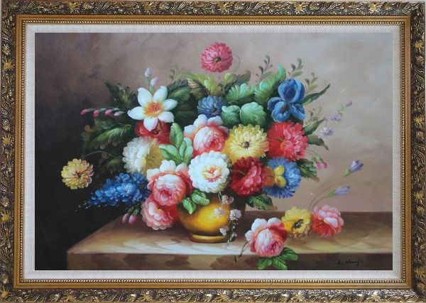 Framed Still Life Of Roses And Other Flowers Oil Painting Bouquet Classic Ornate Antique Dark Gold Wood Frame 30 x 42 Inches