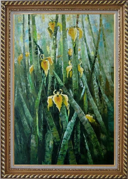 Framed Yellow Iridaceae Flower Oil Painting Impressionism Exquisite Gold Wood Frame 42 x 30 Inches