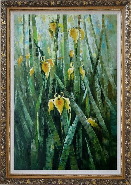 Framed Yellow Iridaceae Flower Oil Painting Impressionism Ornate Antique Dark Gold Wood Frame 42 x 30 Inches