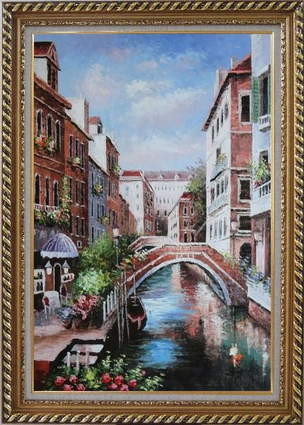 Framed Memories of Venice in Italy Oil Painting Naturalism Exquisite Gold Wood Frame 42 x 30 Inches