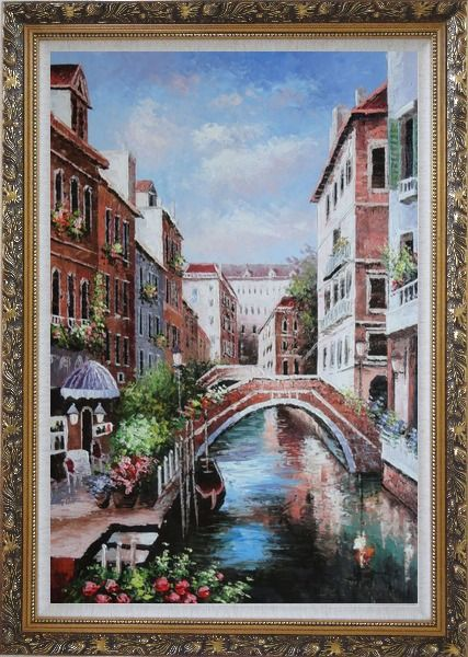 Framed Memories of Venice in Italy Oil Painting Naturalism Ornate Antique Dark Gold Wood Frame 42 x 30 Inches