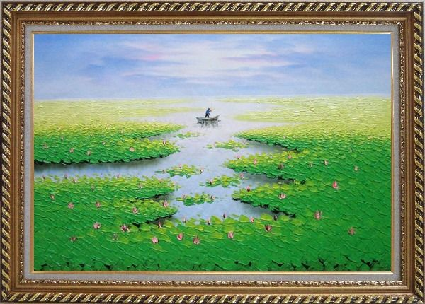 Framed Farmer Working in Lotus Field in the Morning Oil Painting Landscape River Autumn Modern Exquisite Gold Wood Frame 30 x 42 Inches