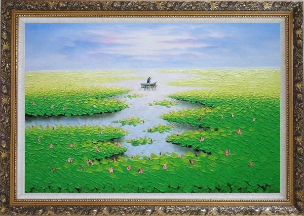 Framed Farmer Working in Lotus Field in the Morning Oil Painting Landscape River Autumn Modern Ornate Antique Dark Gold Wood Frame 30 x 42 Inches