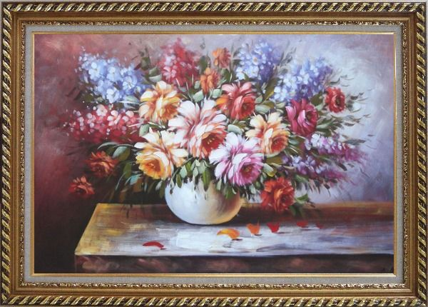 Framed Beautiful Still Life FlowersIn Vase Oil Painting Naturalism Exquisite Gold Wood Frame 30 x 42 Inches