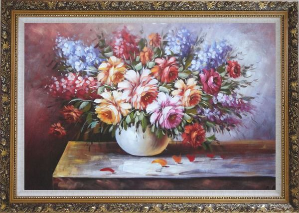 Framed Beautiful Still Life FlowersIn Vase Oil Painting Naturalism Ornate Antique Dark Gold Wood Frame 30 x 42 Inches