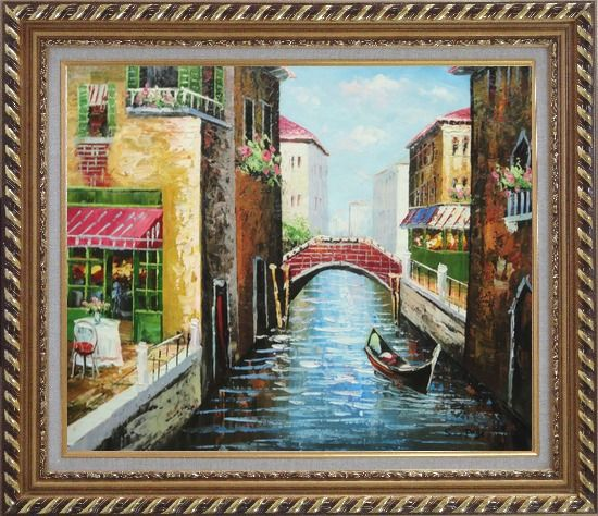 Framed Sunny Day In Venice Oil Painting Italy Impressionism Exquisite Gold Wood Frame 26 x 30 Inches