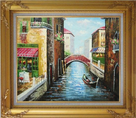 Framed Sunny Day In Venice Oil Painting Italy Impressionism Gold Wood Frame with Deco Corners 27 x 31 Inches