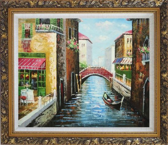 Framed Sunny Day In Venice Oil Painting Italy Impressionism Ornate Antique Dark Gold Wood Frame 26 x 30 Inches