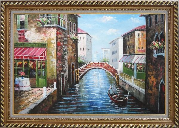 Framed Sunny Day In Venice Oil Painting Italy Naturalism Exquisite Gold Wood Frame 30 x 42 Inches