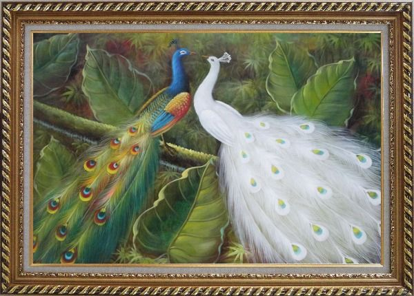 Framed Pair of Peacocks on Tree Oil Painting Animal Naturalism Exquisite Gold Wood Frame 30 x 42 Inches