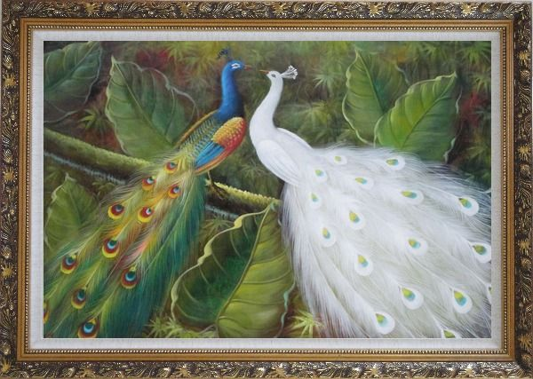 Framed Pair of Peacocks on Tree Oil Painting Animal Naturalism Ornate Antique Dark Gold Wood Frame 30 x 42 Inches